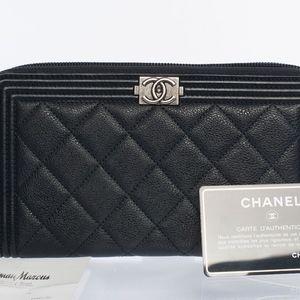 Authentic Chanel Yen Boy Zip Wallet Large